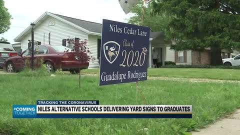 Seniors in Niles delivered their 2020 yard signs