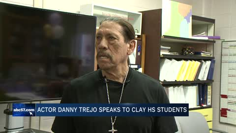 Actor Danny Trejo speaks to students at Clay High School