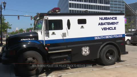 Armored police vehicle parked downtown to reduce crime