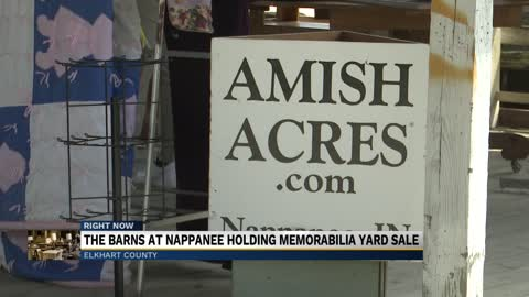 Barns at Nappanee selling off Amish Acres memorabilia at yard...