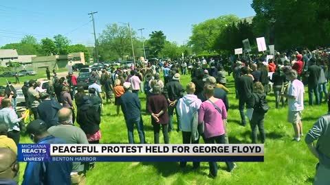Benton Harbor residents gather to protest the death of George...
