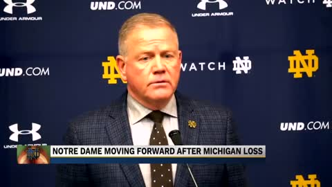 Coach Brian Kelly reacts to Notre Dame's loss to Michigan