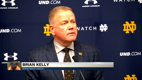 Coach Brian Kelly reacts to Notre Dame's loss to Michigan (part...