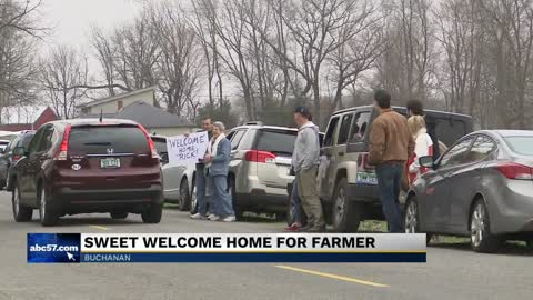 Community welcomes home farmer who was seriously injured