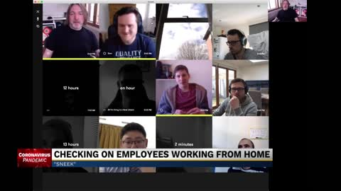 Company uses webcams to connect, monitor employees working from...