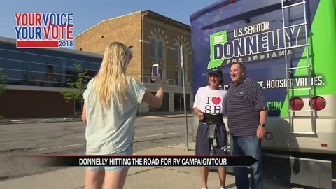 Donnelly campaigns across the state ahead of canceled Senate recess