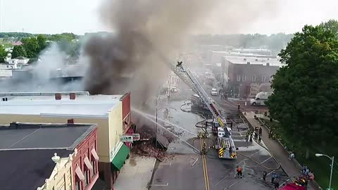 5 p.m.: downtown businesses on fire one building has collapsed