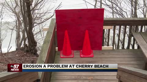 Cherry Beach closed after staircase washes away