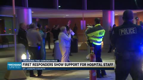 First responders lead procession to show support for medical...