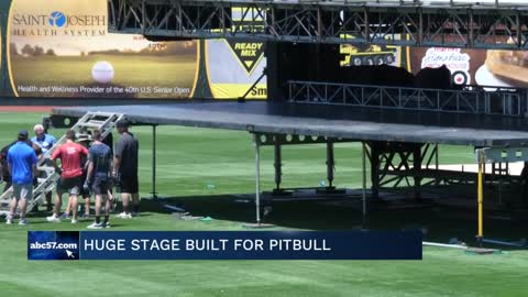 Four Winds Field sets up massive stage for Pitbull concert