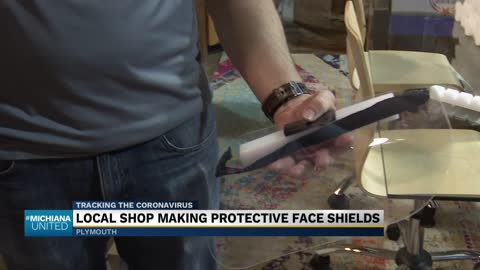 Local business making protective mask shields