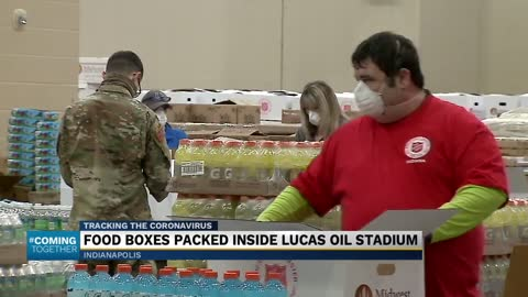 Lucas Oil Stadium, home of the Indianapolis Colts, is now a temporary food distribution center