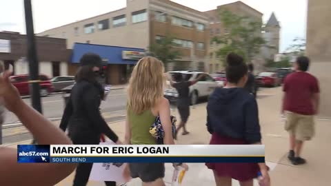 "People gather together for the ""Justice for South Bend"" march for Eric Logan"