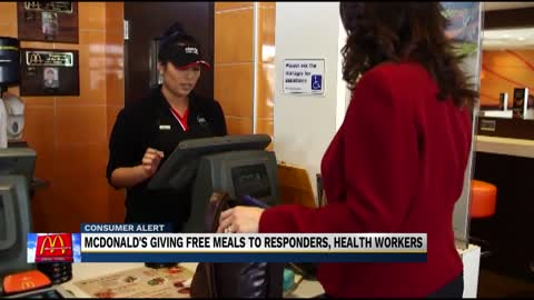 McDonald's gives out free meals for first responders and healthcare workers
