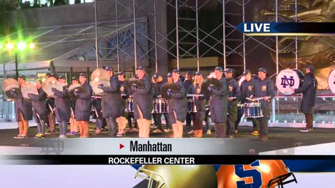 Midnight Drummer's Circle performs at Rockefeller Plaza