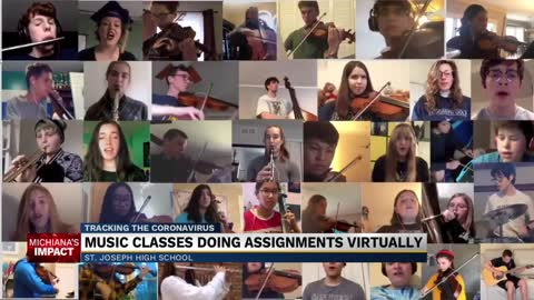 Music classes doing assignments virtually