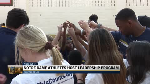 Fighting Irish athletes coach, mentor kids through basketball