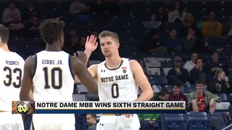 Irish MBB win sixth straight game at home
