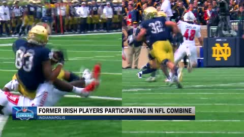 Notre Dame Football players head to Lucas Oil Stadium for NFL...