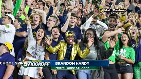 Notre Dame student Brandon Hardy standing out in the crowd