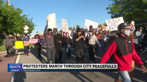 Protesters march through Michigan City peacefully