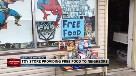 Toy store providing free food to neighbors