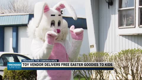 Toy vendor delivers free Easter goodies to kids