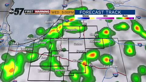 Scattered storms midweek, milder weekend
