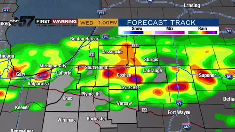 Scattered midday storms Wednesday