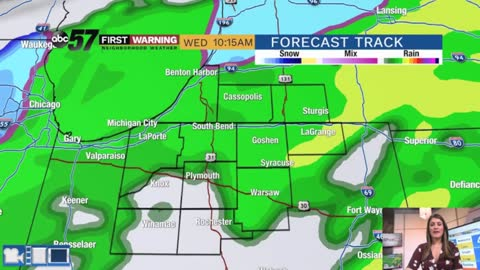 Rainy, breezy and chilly midweek with flakes possible