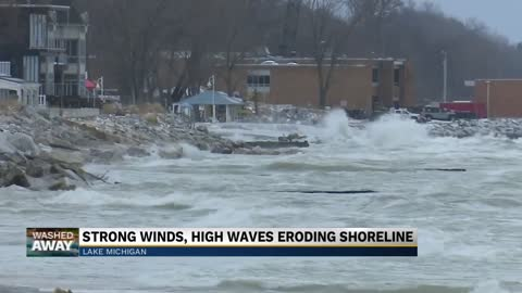 Strong wind, high waves pummel Michigan shoreline
