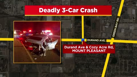 1 dead in 3-vehicle crash in Mount Pleasant