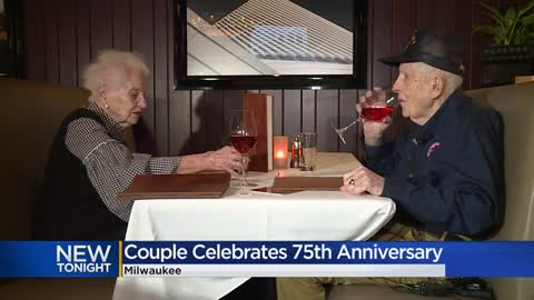 Couple celebrates 75th wedding anniversary in same hotel where...