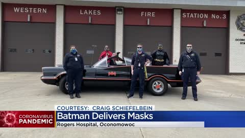 'Batman' delivers masks to Rogers Behavioral Hospital in Oconomowoc