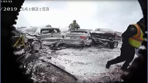 Body camera video shows aftermath of 131-car pileup in Winnebago County