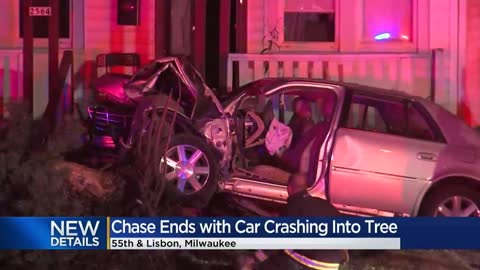 Driver crashes into tree near 55th and Lisbon after leading officers on chase