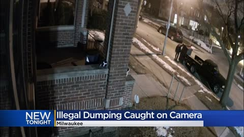 Video: Couch illegally dumped on homeowner's front lawn