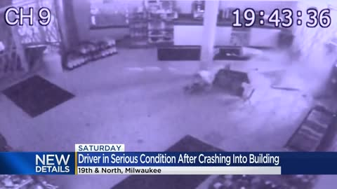 Surveillance captures driver crash into Hayat Pharmacy near 19th and North