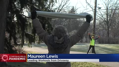 Menomonee Falls woman holding driveway workouts with neighbors...