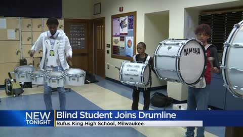 Rufus King HS student who has been blind since birth competes in drumline competition