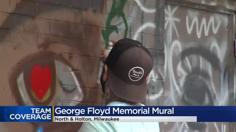 Artists create mural in honor of George Floyd near Holton and...