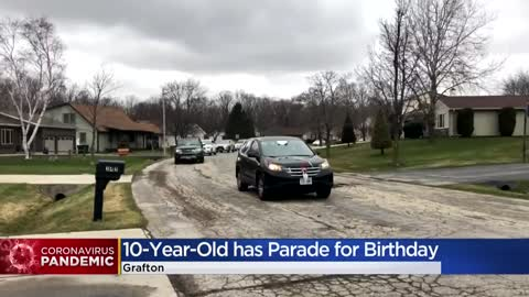 Grafton police, neighbors celebrate 10-year-old's birthday...