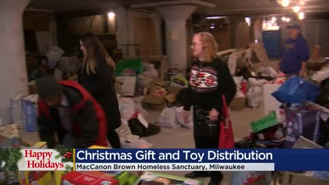 Christmas gift and toy distribution held at MacCanon Brown Homeless Sanctuary