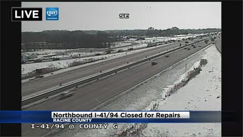 UPDATE: Two lanes on I-94 north in Racine County closed at Highway G due to emergency road repairs