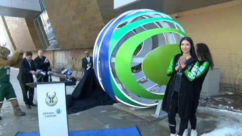 Bucks and Johnson Controls unveil open globe sculpture outside Fiserv Forum