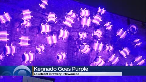 Lakefront Brewery 'Kegnado' lit up for Pancreatic Cancer Awareness Month