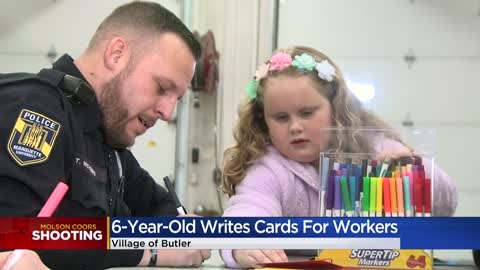 Butler kindergartner writes cards for every employee at Molson...
