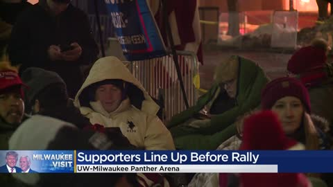 Hours ahead of Milwaukee KAG rally, President Trump supporters line up downtown