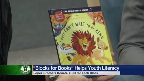 Milwaukee Bucks' Brook, Robin Lopez read to students as part of literacy campaign