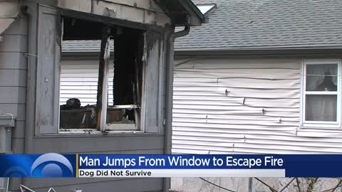 Man escapes house fire by jumping out window; his dog did not survive